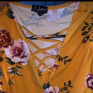Yellow summer floral shirt